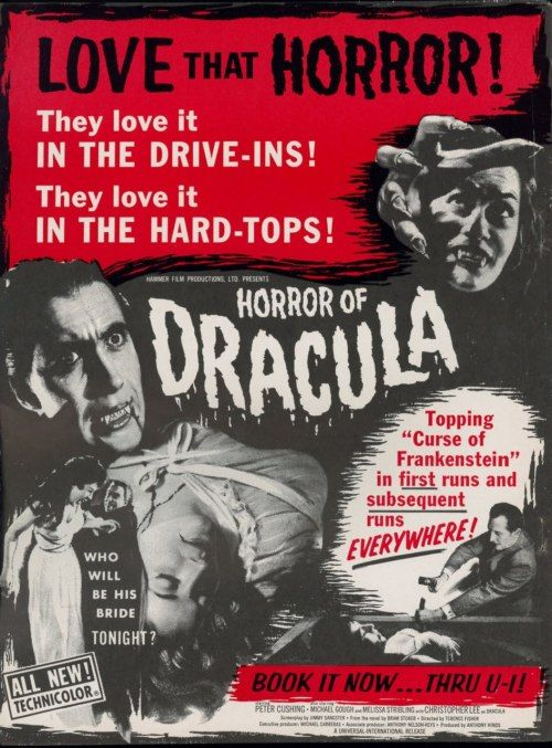 "beautyandterrordance: "" Horror of Dracula, 1958 The first time that Peter Cushing and Christopher Lee are top-billed in any feature film. The last would be 1973's The Satanic Rites of Dracula. """