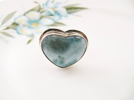 Vintage Sterling Silver Green Agate Heart Ring Silver Heart