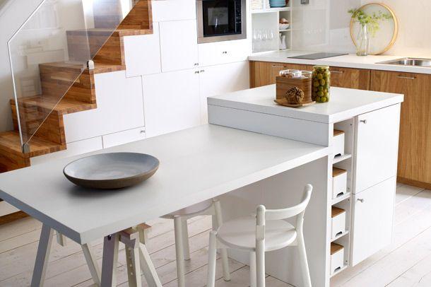 matbord i anslutning till k ks n stairs pinterest space kitchen islands and tables. Black Bedroom Furniture Sets. Home Design Ideas