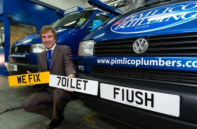 Charlie Mullins has made his fleet of vans at PimlicoPlumbers stand out with a clever range of reg numbers as you can see above. This has brought him a lot of publicity and arguably made Pimlico one of the most well-known plumbing companies in the world.