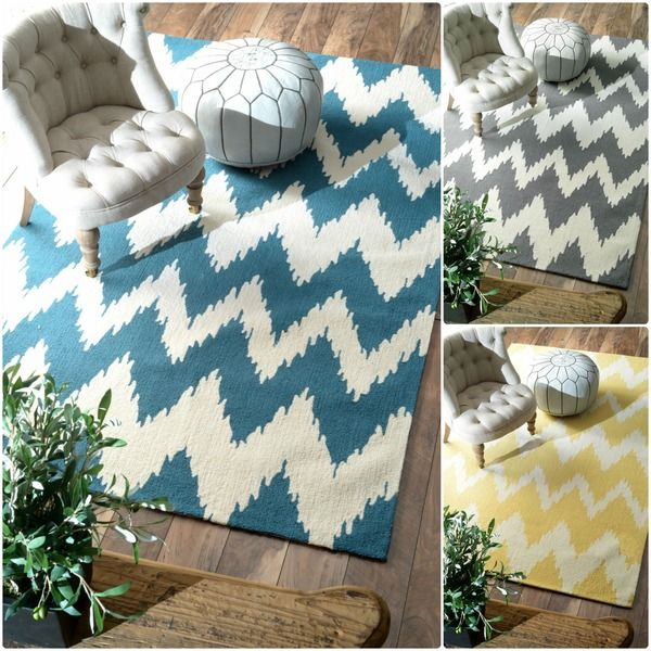 Chevron Denim Wool Rug: NuLOOM Handmade Modern Ikat Chevron Rug