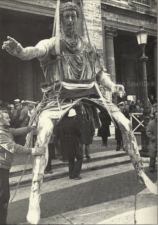 Rome, the equestrian statue of Marcus Aurelius removed from the capitol for renovations, 1981