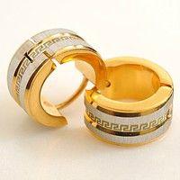 Wish   [Level Zero] Men Earrings 18K Gold Earrings 316L Stainless Steel Stud Earrings Greek Key