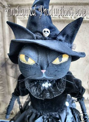 Pfatt Primitive Folk Art Halloween Black Cat Witch Doll by Joyce Stahl | eBay