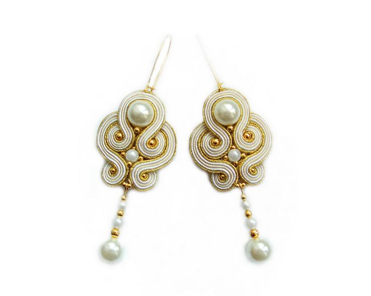 Soutache wedding earrings - elegant, unusual and perfect for the Bride - Audrey. $25.00, via Etsy.