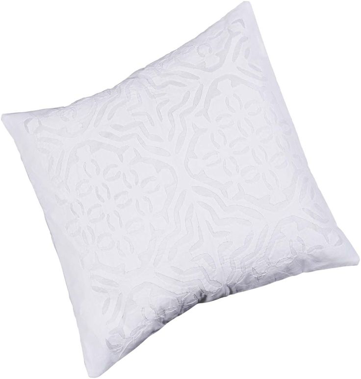 "Bulk Wholesale White Cushion Cover in Pure Cotton – 16x16"" Hand-Stitched Throw Pillow Cover with Cut Work in Moroccan Pattern – Decorative Pillow Case for Couches / Beds / Sofas – Home Décor from India  (Set of 4"