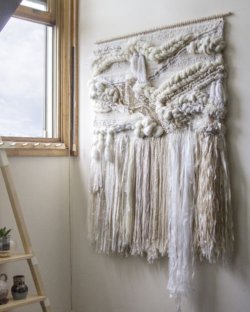 Crossing Threads, handwoven, weaving, woven wall hanging, tapestry, wool, yarn, fiber art