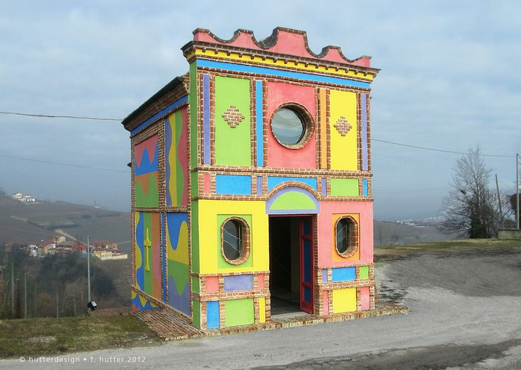https://flic.kr/p/dzGcjL | Piemont, Italy | Colored vineyard chapel in La Morra Cappella delle Brunate or Cappella del Barolo: David Tremlett for the interior and Sol LeWitt (1928 – 2006) turned the little church into a example of contemporary art.