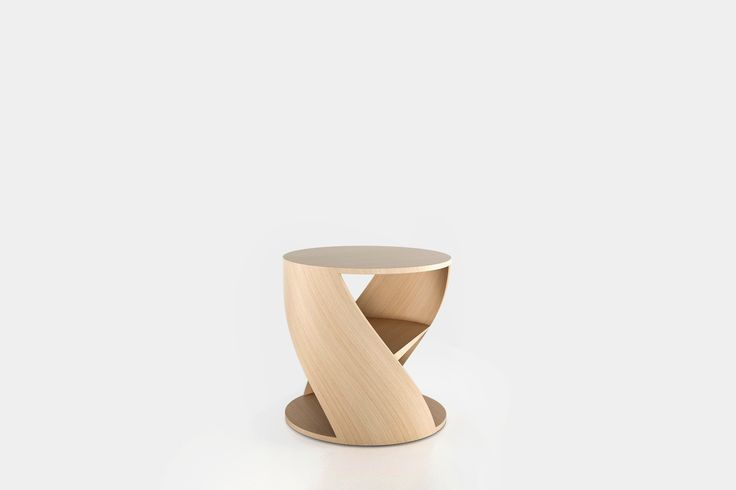 Cylindrical side table with a middle shelf, from the collection MYDNA designed by Joel Escalona. Made of wood and heavy-duty fibers. Finished in natural wood or semi-gloss lacquer. MYDNA Table Oak #Table #Sidetable #furniture #design #nono #coolinteriors