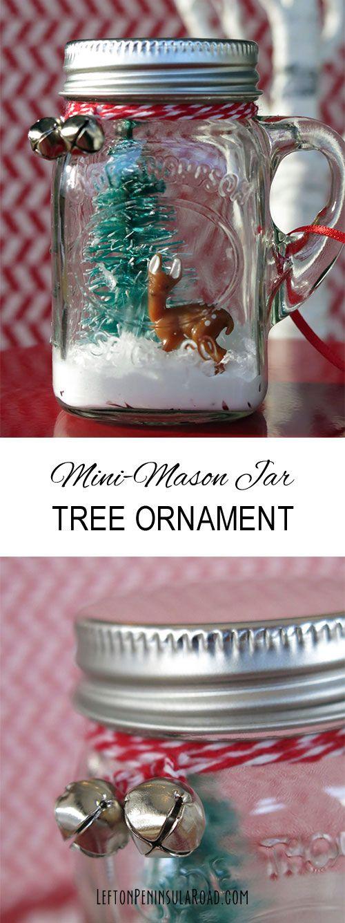 Learn how to make a snow globe in a mini-mason jar. Makes a cute Christmas tree ornament!