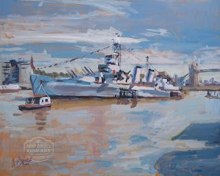 Painted made during my visit to London in 2015 in perfect Summer weather conditions. HMS Belfast on the Thames. Acrylic on panel 50x40cm