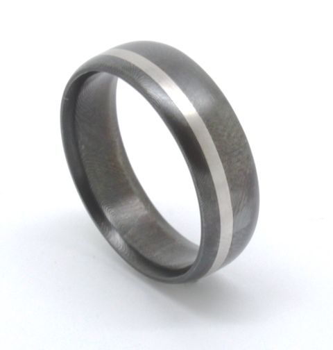 One for the lads, a Damascus Steel wedding band with an inlay of platinum. Increasingly popular, Damascus Steel is a unique alternative to traditional metals. #rohanjewellery #rohanmilne #leederville #handcraftedjewellery #weddingband #damascus #platinum