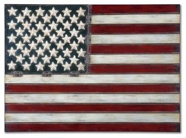 "Uttermost American Flag 36""x26"" Wall Art - industrial - Novelty Signs - Viral Decor"