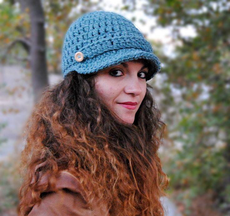 Brimmed beaniehandmade hat womens crochet accessories newsboy hat for women winter hat beanie with visor MP020