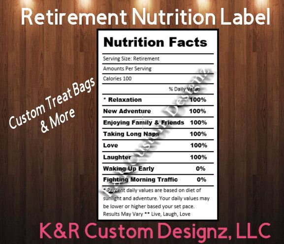 Retirement Nutrition Facts Label For Custom Chip Treat Bags Etsy In 2021 Nutrition Facts Label Nutrition Facts Nutrition Labels