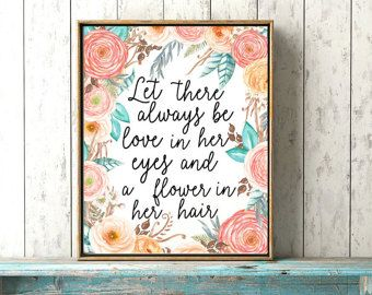 Boho Baby Girl Print - Love In Her Eyes - Baby Girl Nursery Print - Coral Baby Room Art - Floral Boho Nursery Decor - Little Girls Quote