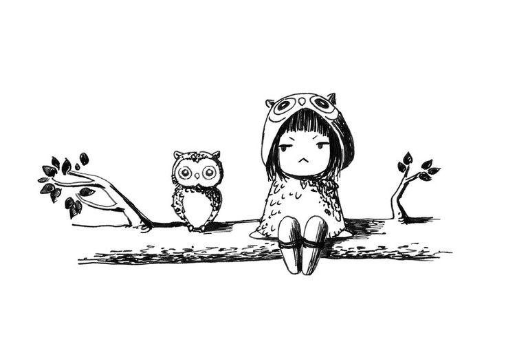 "Saatchi Online Artist: Indrė Bankauskaitė; Pen and Ink, Drawing ""Owls"""