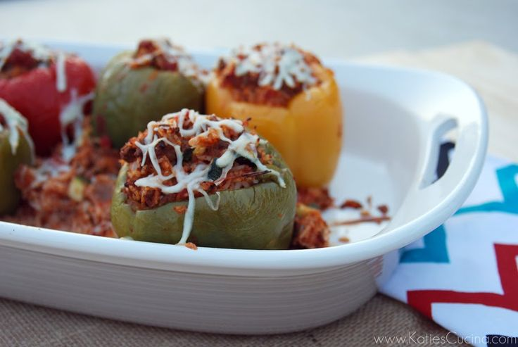Stuffed Peppers with Ground Beef & Rice - Katie's Cucina