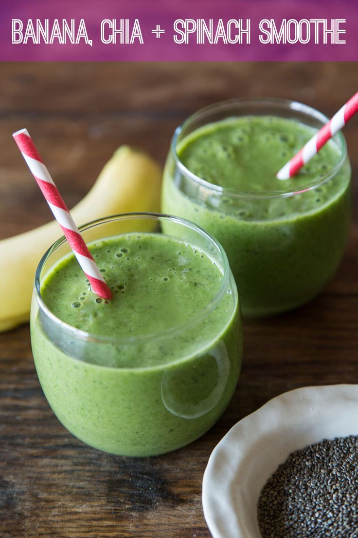 This Banana, Chia and Spinach Smoothie is a great option for a healthy breakfast. Loaded with superfoods and chia seeds, it will keep you full until lunch!