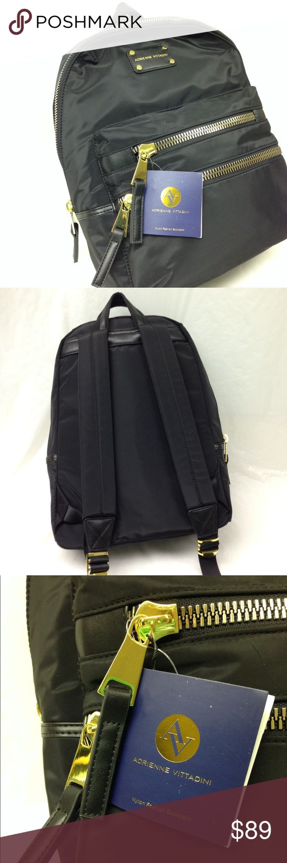 💜SALE💜 Adrienne Vittadini Black Nylon Backpack Adrienne Vittadini black nylon backpack with gold tone zippers and accents/hardware. Maroon cloth interior with 2 open pockets and one zipper pocket. Approx 16 x 12 x 7 Fabulous backpack! NWT new with tags! Retail price $198. Adrienne Vittadini Bags Backpacks