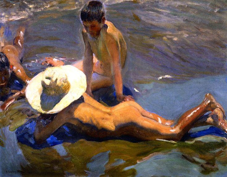 """joaquín sorolla y bastida - """"boys on the beach"""",  1908, oil on canvas."""