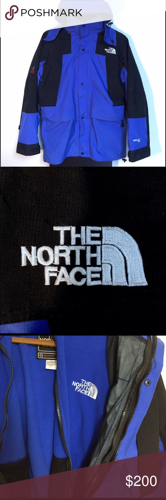 "❄️The North Face Summit Jacket w/ Gore-Tex💦 Vintage 90s The North Face Summit Series Black and Blue Shell + Inner Fleece. Gore-Tex XCR premium synthetic waterproof fabric permeable to air and water vapor. XL measures 26"" pit to pit and 31"" collar to waist. Hood with strap and buckle to adjust fit. Armpit Vents. 4 outer zipper pockets with 1 zipper pocket inside shell. Inner fleece has 2 pockets with zippers. Overall great condition, no tears, scratches or holes. There is a small smear on…"