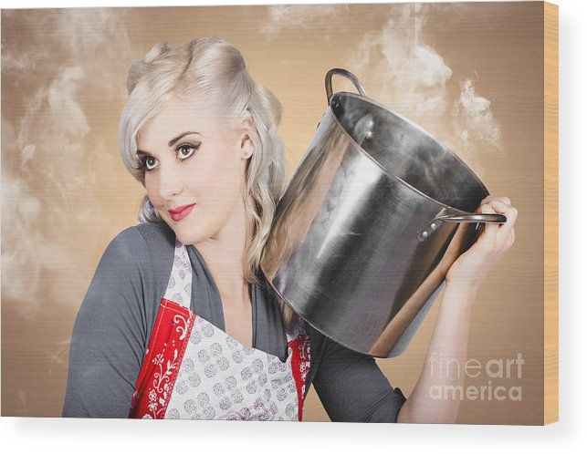 Cooking Wood Print featuring the photograph Retro Women And Homemakers. Pin Up Cooking by Jorgo Photography - Wall Art Gallery