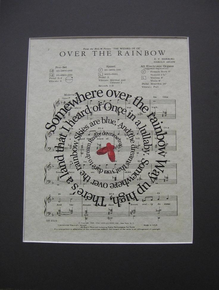 Wizard Of OZ Print - Somewhere Over The Rainbow - Movie Song Lyric Sheet Music Art Print. $15.00, via Etsy.