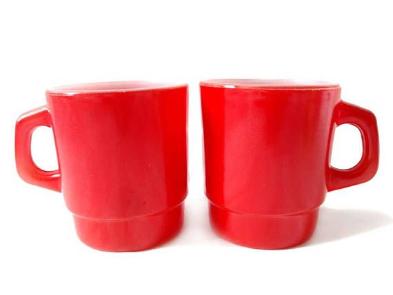Red Fire King Mugs Anchor Hocking Pair Coffee Cups Fire King Tomato Red on White Milk Glass D Handle All Solid Red Oven Proof Stackable by CollectionSelection on Etsy