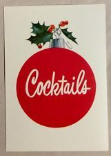 UNUSED Holiday Cocktails Open House Party 50's Vintage Christmas Invitation Card