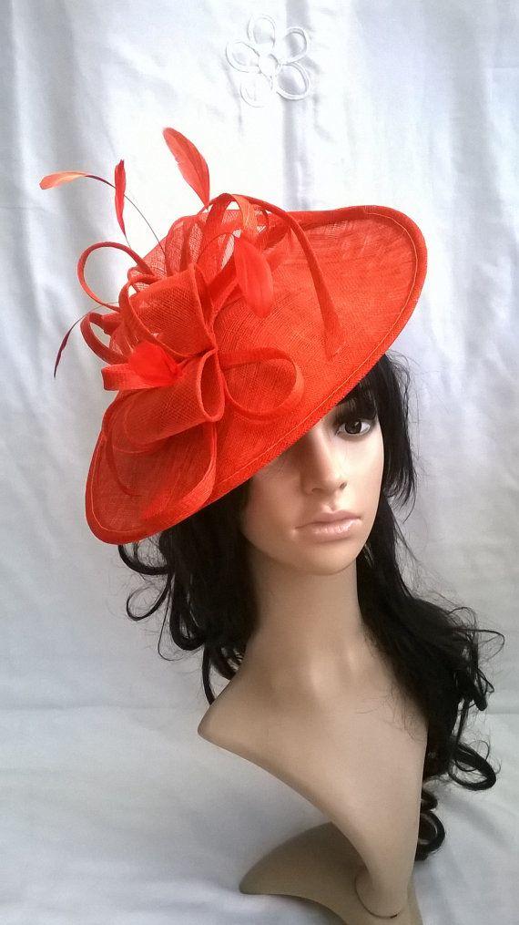 Orange Fascinator..Stunning Sinamay Fascinator Hat on a Headband