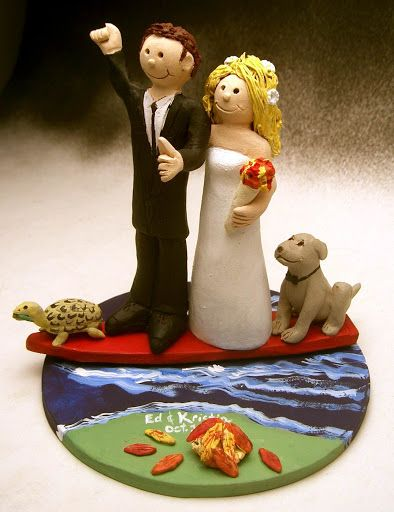 Surfers with Pets Wedding Cake Topper http://www.magicmud.com   1 800 231 9814  magicmud@magicmud.com  http://blog.magicmud.com  https://twitter.com/caketoppers         https://www.facebook.com/PersonalizedWeddingCakeToppers $235  #surfer#surfing#surf#ocean#wave#beach#longboard#catch-a-wave#waveRider