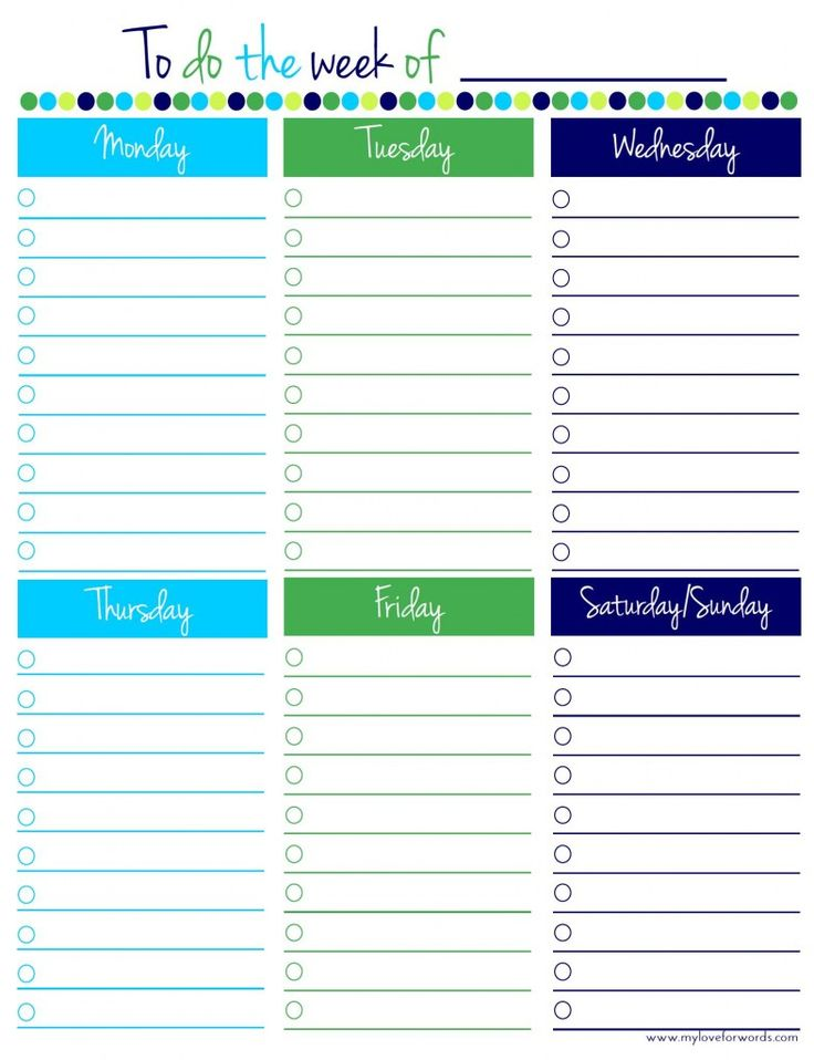 Best Todo List Ideas On   Printable Weekly Calendar