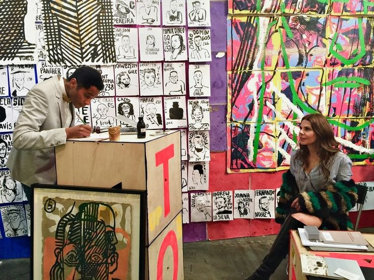Francisco Vidal sketching me at his solo booth with Tiwani Contemporary at the Armory Show