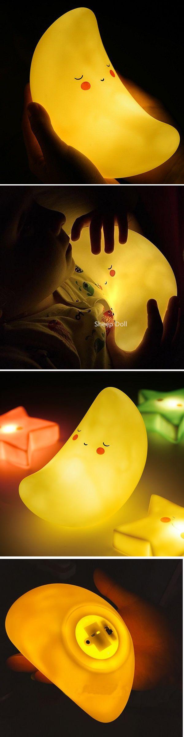 US$6.99 Creative Kawaii Moon Shape LED Night Light Novel Children Bedroom Decorative Lamp