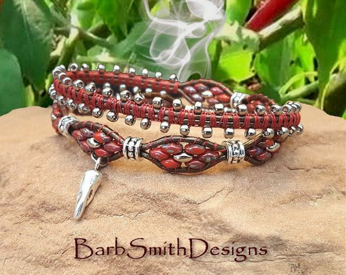 "Red Wrap Bracelet-Chili Bracelet-Beaded Leather Bracelet-Southwest Bracelet-2-Wrap Bracelet-Magnet Clasp-Size 7""-Custom Sizes-""Chili Snap!"""