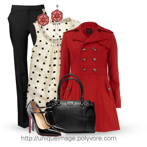 Work OutfitWoman Fashion, Polka Dots, Outfit Ideas, Christmas Outfit, Black White, Workoutfit, Work Outfits, Red Coats, Red Black