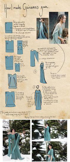 un vestido túnica medieval o hechicera, bruja Super fácil de una pieza de tela.