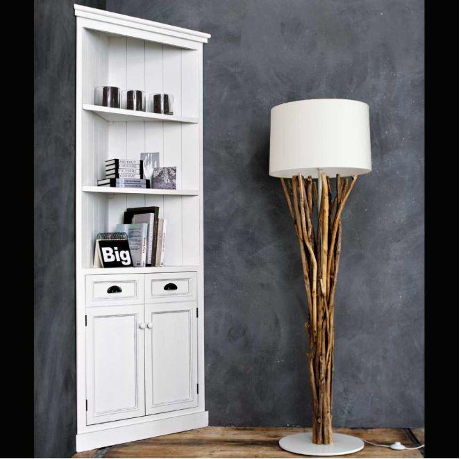 Meuble d\u0027angle en bois de paulownia blanc L 73 cm Salons