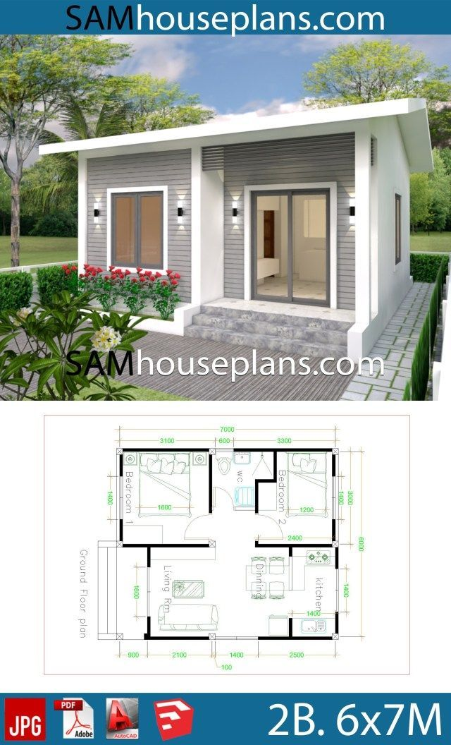 House Plans 6x7m with 2 bedrooms - Sam House Plans #6x7m # ...