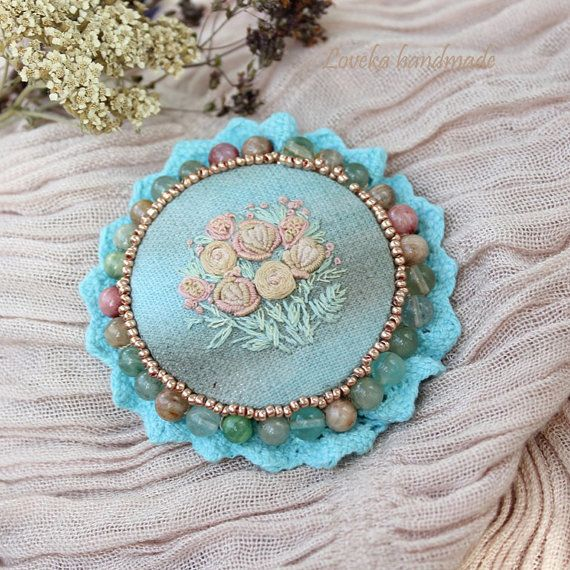 Hand Embroidered Flower Brooch Pin  Embroidery by LovekaHandmade, $49.00