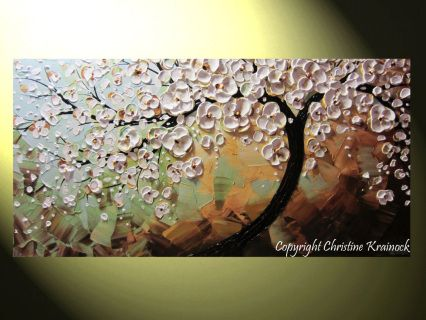 """Inspiration"" -White Flower Blooming Tree Life Modern Painting Cherry Tree Original textured palette knife paintings Flowers Landscape Floral Light Blue Green Brown Mixed media acrylic on 24x48x1.5"" Gallery wrapped canvas. - brown, rust, pale blue-green, birds egg blue, pale green, cream, pale gold, white, black, Metallic Bronze. - Hand-painted, one-of-a-kind.  Beautiful, vibrant, wonderful texture! The sides of the canvas are painted black so your new painting is ready to ..."