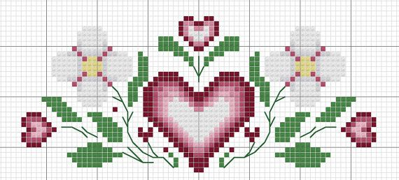Valentine Towel Counted Cross Stitch Pattern by Berwickbay on Etsy, $1.00