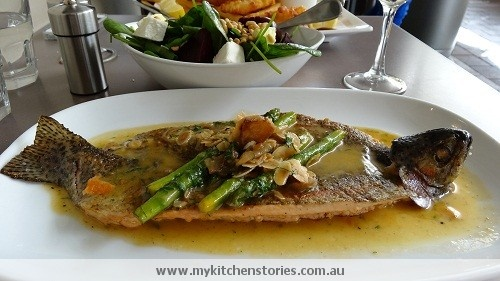 Trout with almonds and asparagus @Kathy Chan O'Brien Crows Nest