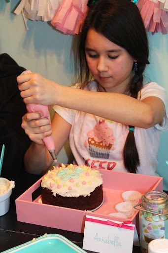 """""""A Sweet Sleepover"""" To set the tone we used our """"sweet shoppe"""" invites! At the party the girls decorated cake boxes, decorated their own personal mini cakes that they got to bring home and share with their families, had a candy hunt, opened gift with oven mits on their hands"""