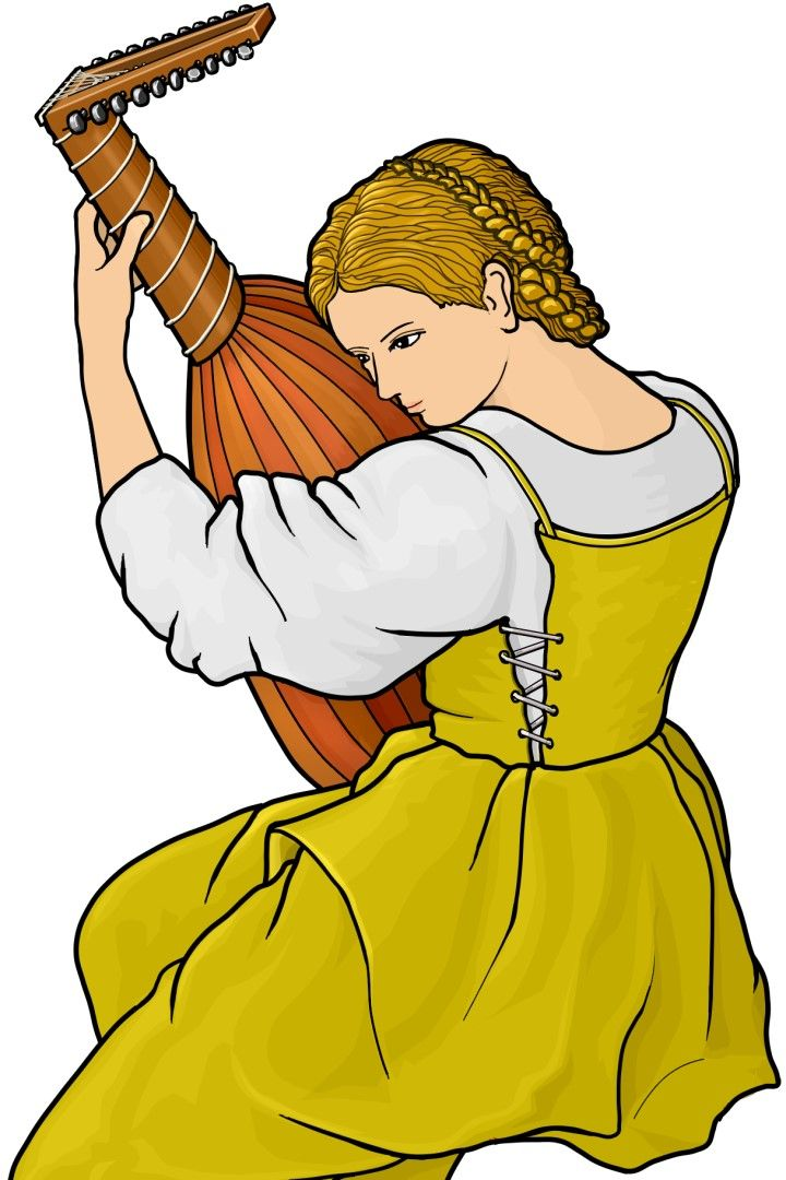 リュートを演奏する女性。lute.