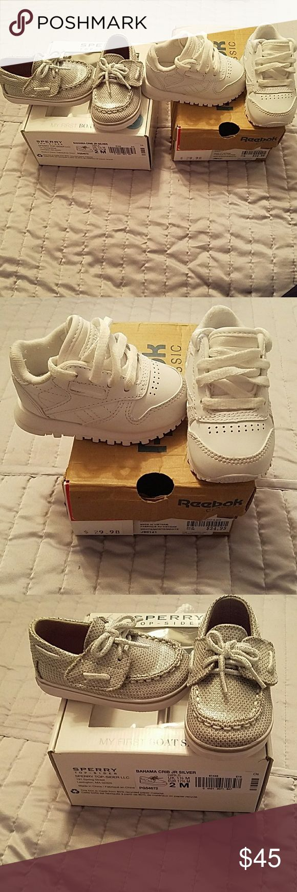 Shoe bundle Sperry top-sider silver size 2 Reebok white size 2 both like new Sperry Shoes Sneakers