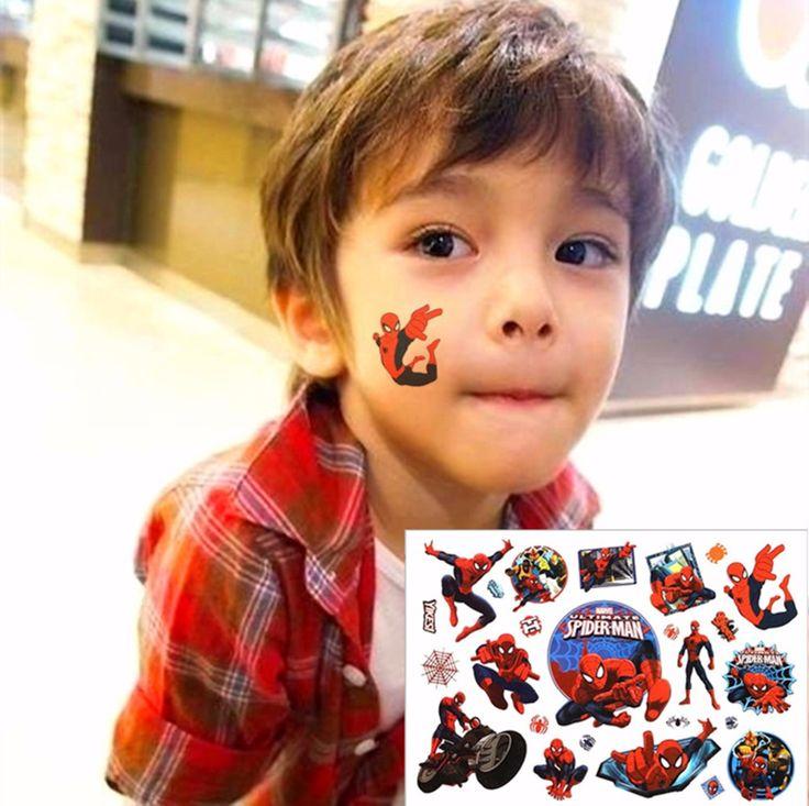驚くべきスパイダーマン子愛仮設ボディーアートおもちゃ、フラッシュタトゥーステッカー17*10センチ、誕生日クリスマスベビーシャワーパーティーギフト