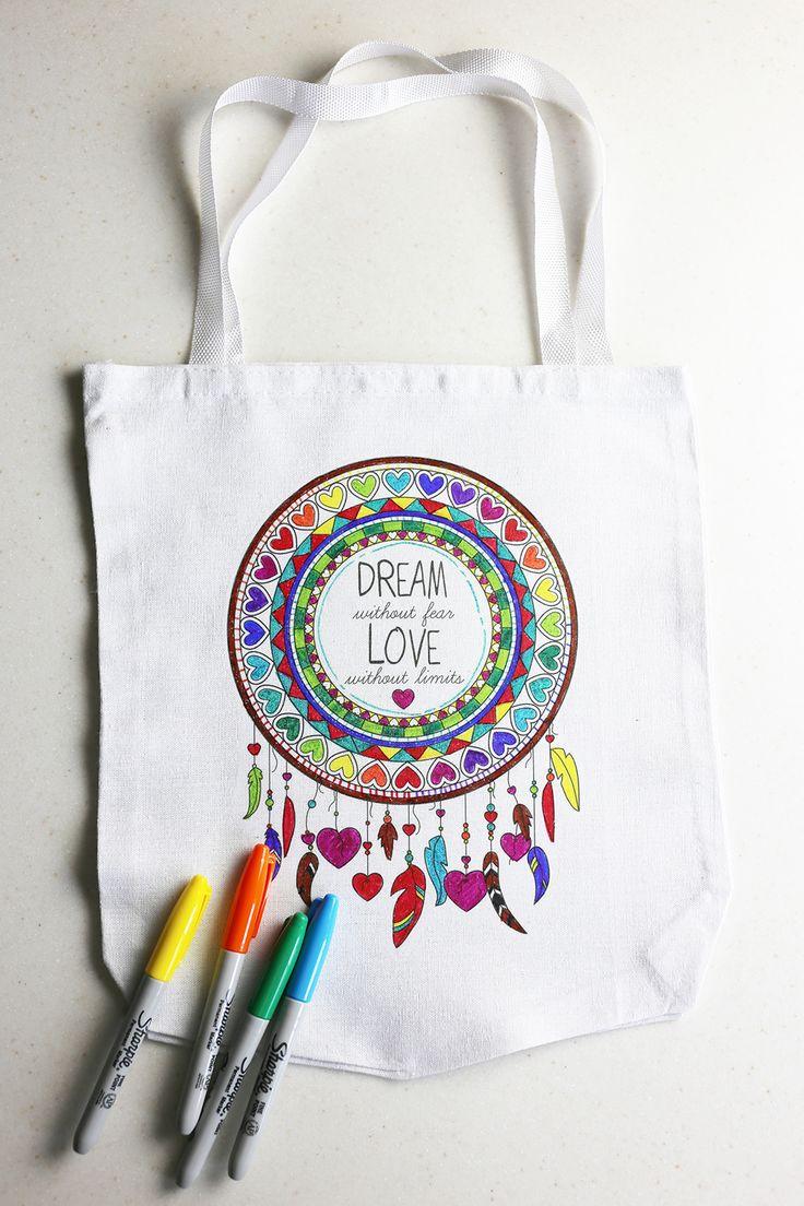 Coloring book bag - Diy Coloring Craft Art Bag