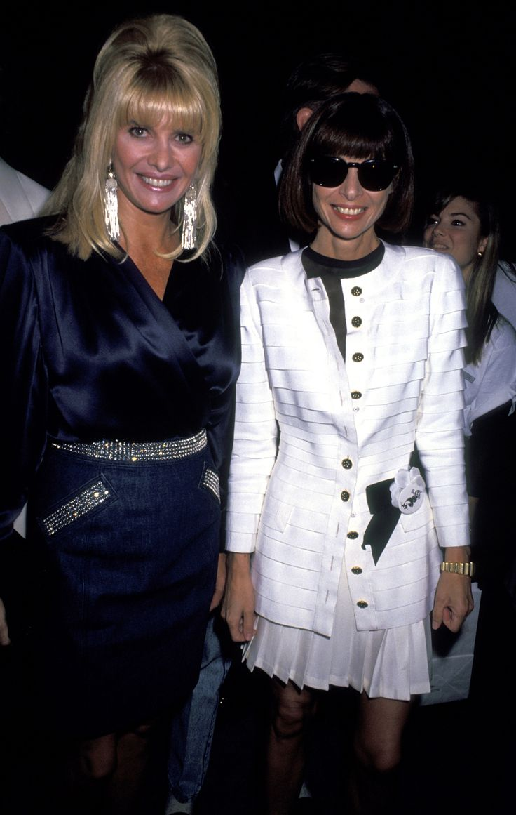 """Ivana Trump and Anna Wintour during """"Off the Street"""" Citizens' Commitee for Children of New York Presented by Chanel – September 12, 1991 at Bergdorf Goodman in New York City, New York, United States."""